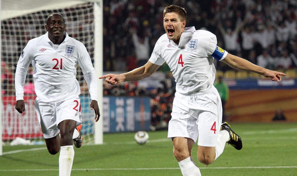 England captain Steven Gerrard celebrates the opening goal against the USA during the first half of their first round World Cup 2010 match at Royal Bafokeng Stadium in Rustenburg, South Africa Saturday, June 12, 2010. - See more at: http://stuartgradon.com/web_portfolio/old_responsive_multimedia_website/sports.html#sthash.DHM6ohkd.dpuf